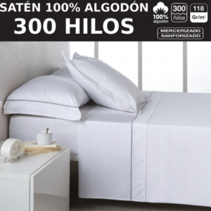 Juego de Sabanas Satén 300 Hilos 100% Algodón Blanco