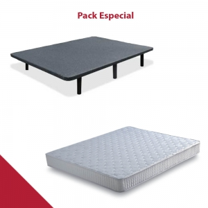 PACK COLCHÓN + BASE TAPIZADA LOW COST